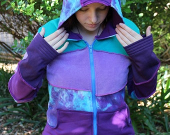 Patchy Pixie Faery Purple Blue Hand Dyed Hoodie Hemp Cotton