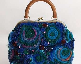 "Crochet Bag ""Valerie"" blue with green"