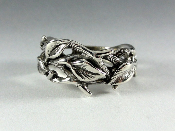 Sterling Silver Leaf And Twig Band Ring Tree Branch Ring