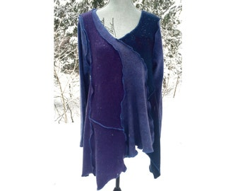 Handmade asymmetrical Upcycled Blue & Purple Cashmere Sweater Tunic