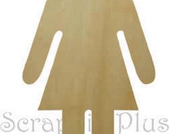 Wooden Little Girl Silhouette - girl silhouette, wooden female, little girl shape, female silhouette, wooden girl shape, little girl