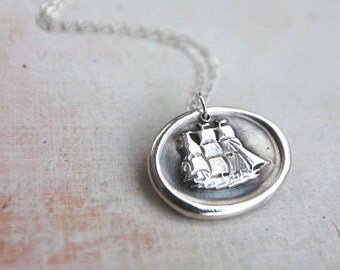 Nautical ship wax seal necklace hand stamped from recycled silver Little Mermaid Disneybounding