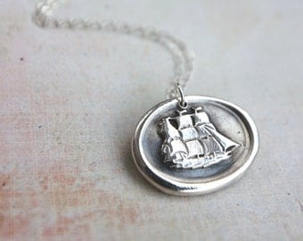 Nautical ship wax seal necklace hand stamped from recycled silver from antique wax seal