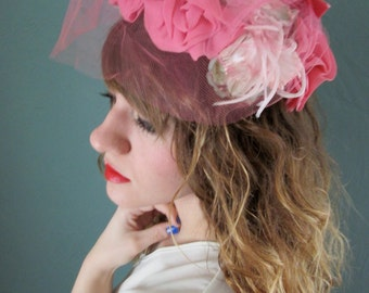 Vintage Pink Flowery Sunday Hat