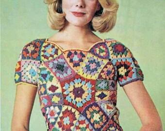 1960s Granny Square Boho T Shirt VINTAGE CROCHET PATTERN, Retro/Hippie/Folk Shell Top, Instant Download Pdf from GrannyTakesATrip 00265