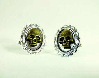 Mens  Silver Cufflinks,  With Gothic Bronze Skulls,  Mens Accessory Wedding Groomsmen
