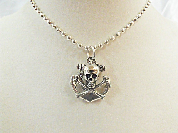 Silver Pendant Necklace,  Nautical Pirate And Anchor Necklace  Mens Womens Handmade