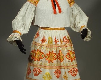 Complete Woman's Slovak Folk Costume from Cicmany, Slovakia - finely embroidered blouse & apron | pleated cotton skirt | orange embroidery
