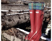 SLUGS Fleece Boot Liners Navy Plaid, Tall Boot Socks, Fleece Socks, Boot Topper, Camping Cabin Fashion (Med/LG 9-11)
