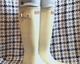 SLUGS Fleece Rain Boot Liners Solid Light Heather Gray, Fall Winter Fashion, Boot Cuff, Fleece Tall Socks, Leg Warmers (Sm/Med 6-8 Boot)