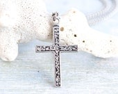 St Justin Cross Necklace - Celtic Pewter Pendant on Chain