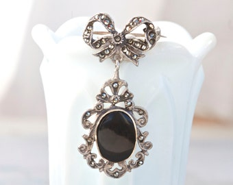 Victorian Lapel Pin - Antique Marcasite Brooch - Jet Black Glass on Sterling silver