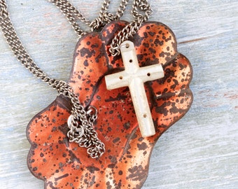 Antique Mother of Pearl Cross Pendant on Chain Necklace - Religious Jewelry