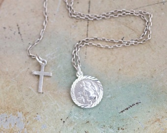 St Christopher Necklace - Tiny Sterling Silver Medallion on Chain - Made in Italy - Religious Icon