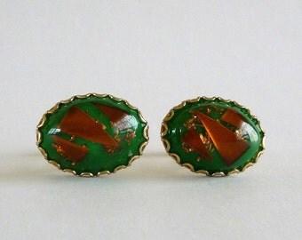 Vintage Green Copper Foil Cuff Links