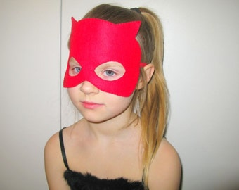 Daredevil Superhero felt mask (2 years to adult size) - Red costume accessory for boys girls - soft Dress up play accessory - photo prop
