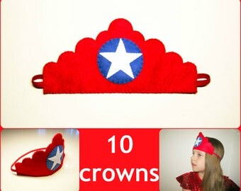 10 felt crowns set - red blue white - miss America Superhero patriotic for girls adults birthday July 4 party - soft dress up play accessory