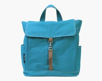 KYLE // Teal / Lined with Beige / 094 // Ship in 3 days // Backpack / Diaper bag / Shoulder bag / Tote bag / Purse / Gym bag