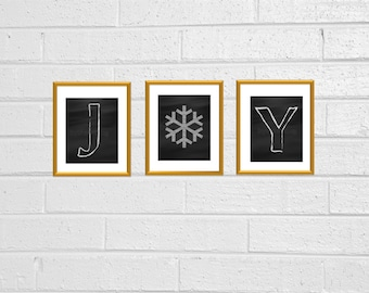 JOY Holiday Christmas Chalkboard Style Printable 8x10 Wall Decor Holiday Decor Snowflake JOY Sign