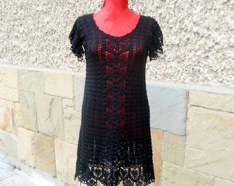 Black Crochet Dress, Women Fashion Dress, Mini Elegant Dress, Lacy Drеss,  Little Black Dress, Gorgeous Black Crochet Dress, Lace Dress,
