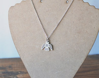 Silver Aztec Bird Necklace