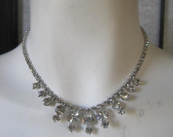 Vintage Rhinestone Necklace Clear Dangle Choker Pendants 1950s Holiday Black Tie Formal Sparkle MCM Jewelry