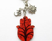 Hamsa Key Chain, Rear View Mirror Car Charm - Tree of Life Design with Ohm, Om and Lotus Flower