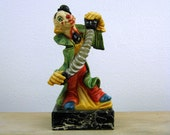 Vintage Clown Playing Accordian Figurine, Fontanini Clown Figurine