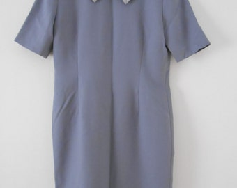 Grey sheath dress with Peter Pan collar