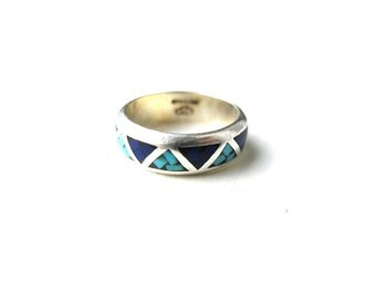 Ring Blue Chip Inlay Sterling Silver Infinity Size 6