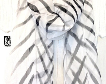 Silk Scarf Handpainted, Anniversary Gift, Gift for her, Birthday Gift, Black and White Scarf, Zen Tropical Palm Leaves Scarf, 10x59 inches.