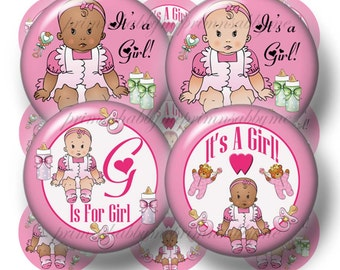 "It's A Girl - Bottle Cap Images, 1 Inch Circles, Digital Collage Sheet, Baby Shower, Printable, 1"" Circles, Cupcake Toppers, Crafts, (No. 4)"