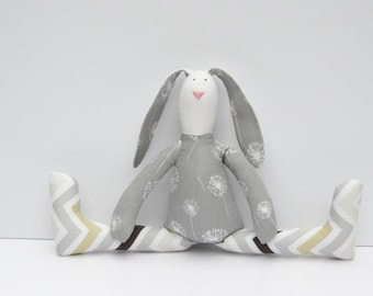 Stuffed bunny rabbit hare plush Easter bunny white gray chevron cute softie stuffed toy baby shower birthday gift for boy girl