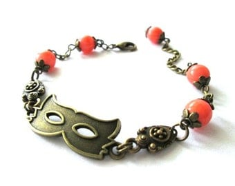 Mask bracelet, orange bracelet jewelry, antique brass bronze mask bracelet orange Czech beads