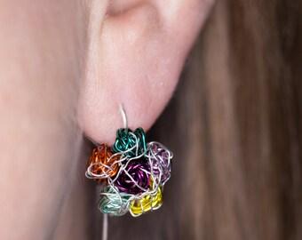 Colorful earrings Wire earrings Flower earrings Flower drop earrings Contemporary jewelry Cute everyday earrings Flower jewelry Womens gift