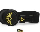 Zelda hand painted headphones - unique Triforce Hylian seal - black gold earphones