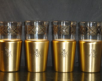 Vintage Bowling Insulated Glasses Tumblers-Set of Four 4-Bowling Pins Balls-Gold