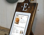 RUSH PROCESSING 20% OFF - Sale - Wood iPad Stand - Cutting Board Style Cookbook Holder - Housewarming Gift - Wedding - Mothers Day - Kindle