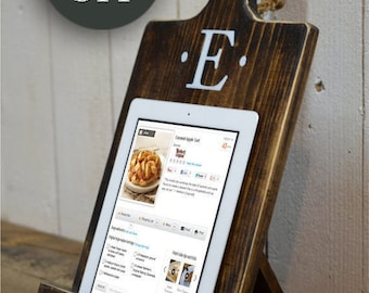 20% OFF SALE Wood iPad Stand Cutting Board Style Cookbook Holder