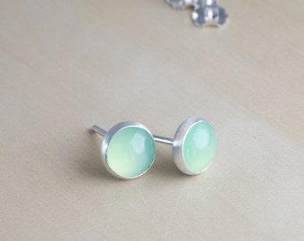 Chalcedony stud earrings. Sterling silver sea green gemstone post earrings. Ready to Ship!