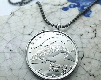 whale necklace - Bowhead whale - beluga whales - Canada 25 cents coin necklace - whale jewelry - whale pendant - Pacific Coast whales - coin