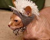 Mohawk Cat Hat - Gray and White - Hand Knit Cat Costume (READY TO SHIP)