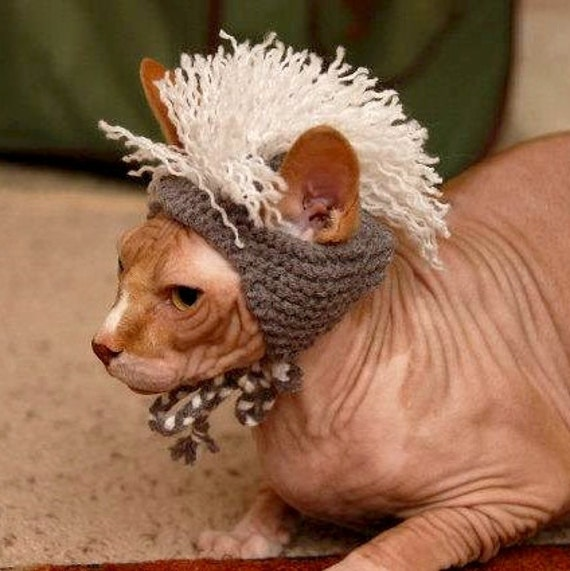 Mohawk Cat Hat - Gray and White - Hand Knit Cat Costume
