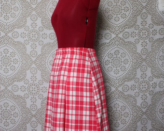 Vintage 1960's 70's Hot Pink Houndstooth Skirt Medium