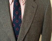 On Sale Vintage MENS Egon Von Furstenberg black, brown & grey tweed jacket, sport coat or blazer, size 44R