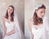Lace Edge Juliet Cap Veil, Lace Veil, Vintage Style Veil, Juliet Veil, Swarovski Crystals, Pearls, Lace Bridal Cap Veil, Lace Wedding Veil