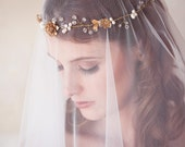 Gold Pearl Crystal Bridal Hair Wreath, Gold flower crown, bridal halo, Crystal Bridal Headpiece, Gold Crystal Hair Vine, READY to SHIP