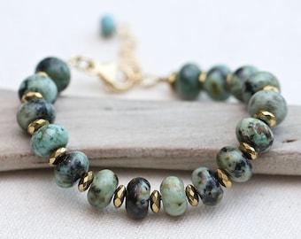 Turquoise Bracelet, Gold Turquoise Stacking Bracelet, Stacking Gemstone Bracelet, Beaded Turquoise and Hematite Bracelet, Gold Bracelet