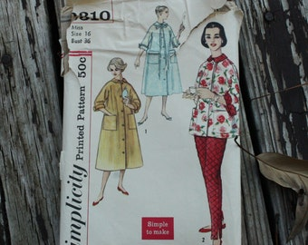 Simplicity 2310 1950s 50s Lounge Wear Pajamas Sewing Pattern Size 16 Bust 36