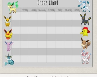 Blank Eevee Pokemon Behavior or Chore Chart * Visual Schedule * Instant Download